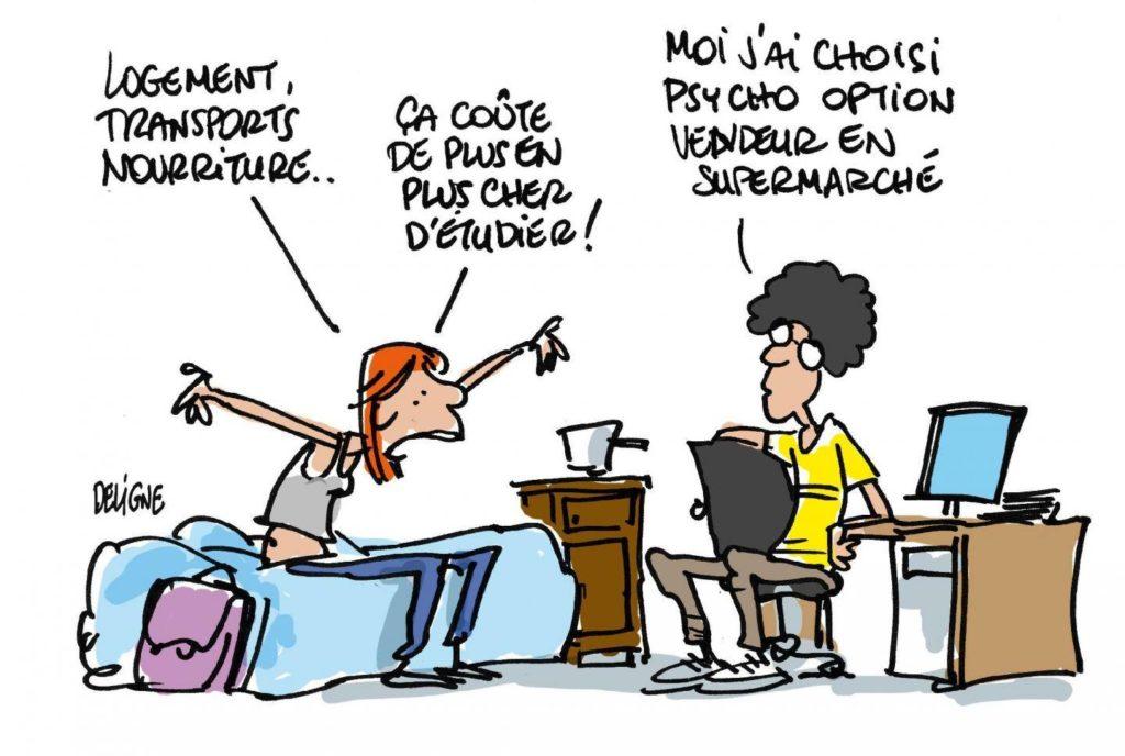 Caricature représentant deux étudiants parlant des frais liés aux études