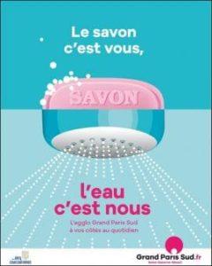 Affiche avec slogan : le savon, c'est vous, l'eau c'est nous