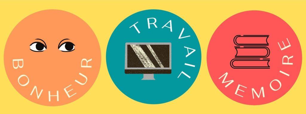 Visuel qui présente trois illustration à propos du bonheur, du travail, et du mémoire