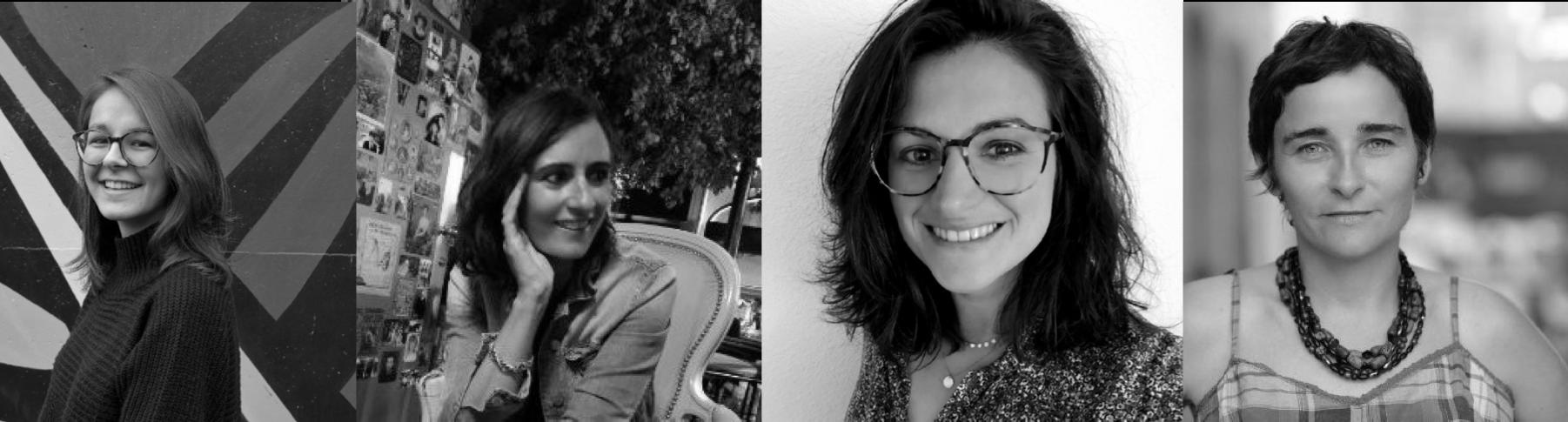 Portrait en noir et blanc de Claire Dorland, Laure Duplaa ,Aurélie Riquelme et Claudia dans le cadre d'une rencontre